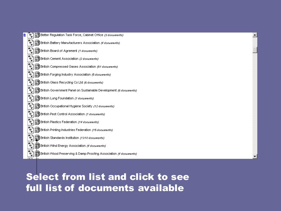 Select from list and click to see full list of documents available
