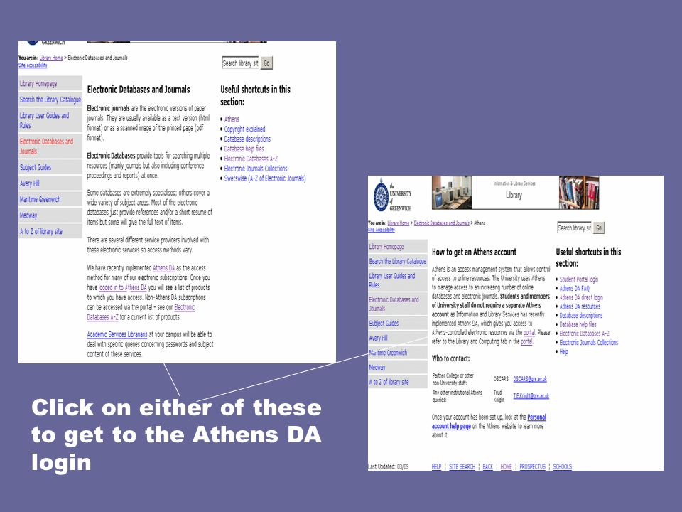 Click on either of these to get to the Athens DA login