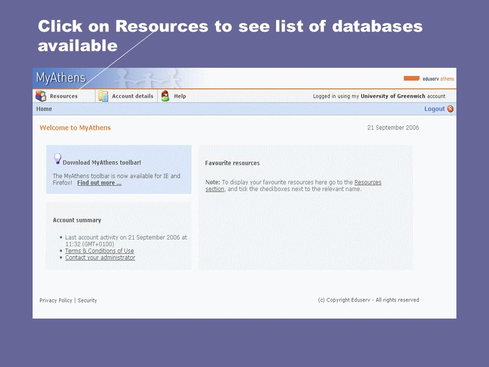 Click on Resources to see list of databases available