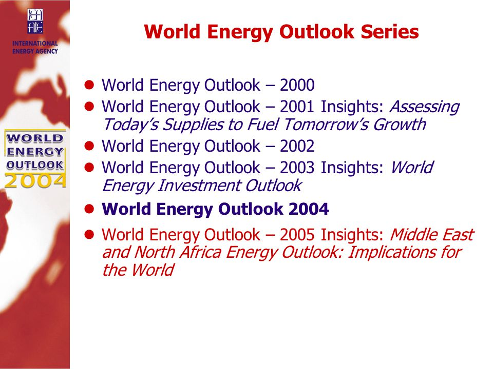 World Energy Outlook Series World Energy Outlook – 2000 World Energy Outlook – 2001 Insights: Assessing Today's Supplies to Fuel Tomorrow's Growth World Energy Outlook – 2002 World Energy Outlook – 2003 Insights: World Energy Investment Outlook World Energy Outlook 2004 World Energy Outlook – 2005 Insights: Middle East and North Africa Energy Outlook: Implications for the World