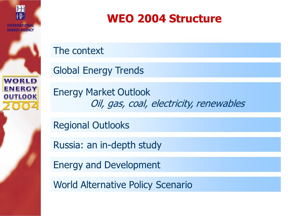 The context Global Energy Trends Energy Market Outlook Oil, gas, coal, electricity, renewables Regional Outlooks Russia: an in-depth study Energy and Development World Alternative Policy Scenario WEO 2004 Structure