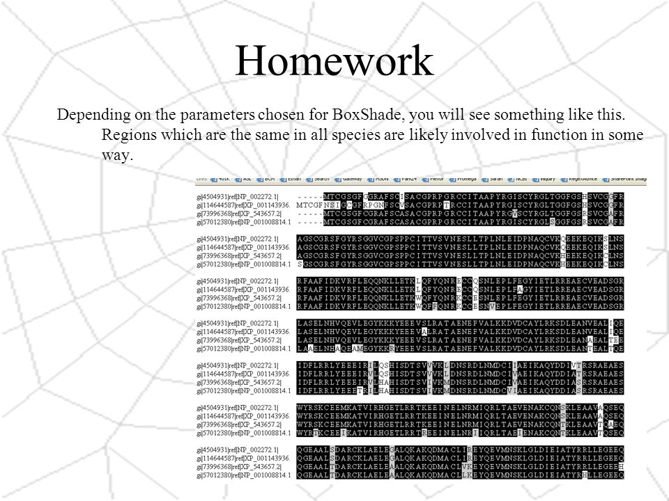 Homework Depending on the parameters chosen for BoxShade, you will see something like this.