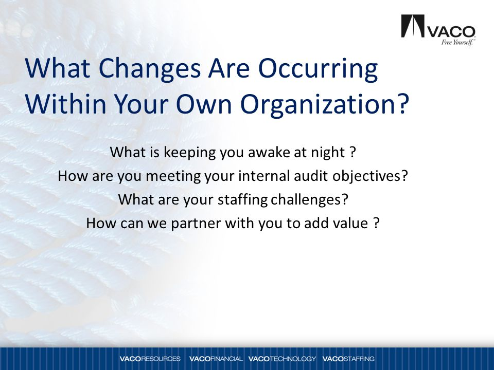 What Changes Are Occurring Within Your Own Organization.