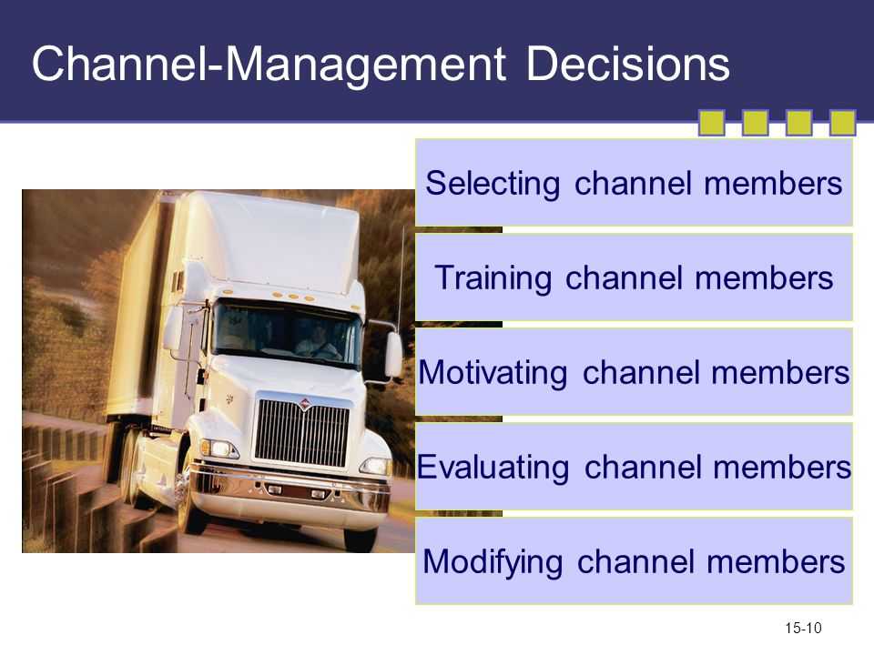 15-10 Channel-Management Decisions Selecting channel members Training channel members Motivating channel members Evaluating channel members Modifying channel members
