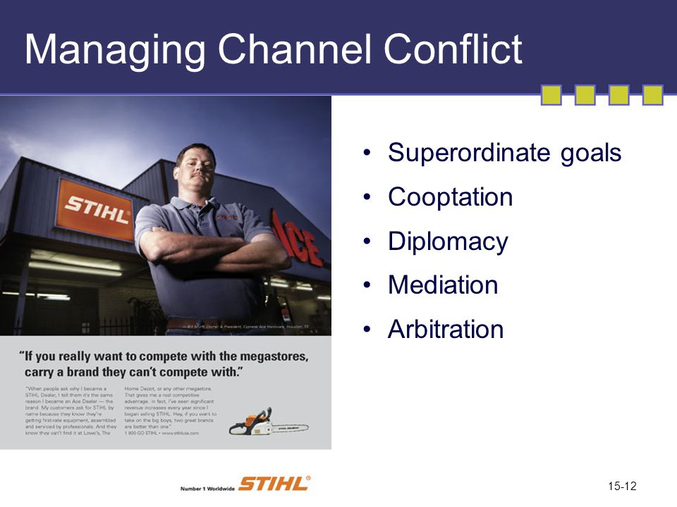 15-12 Managing Channel Conflict Superordinate goals Cooptation Diplomacy Mediation Arbitration