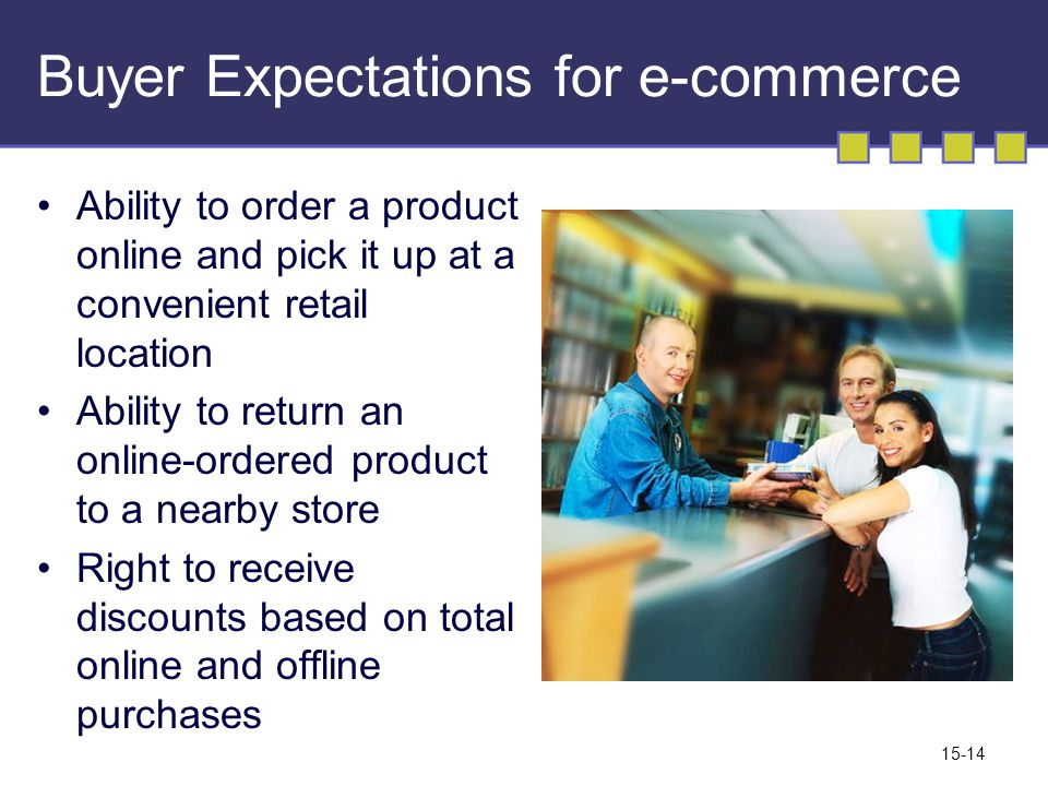 15-14 Buyer Expectations for e-commerce Ability to order a product online and pick it up at a convenient retail location Ability to return an online-ordered product to a nearby store Right to receive discounts based on total online and offline purchases