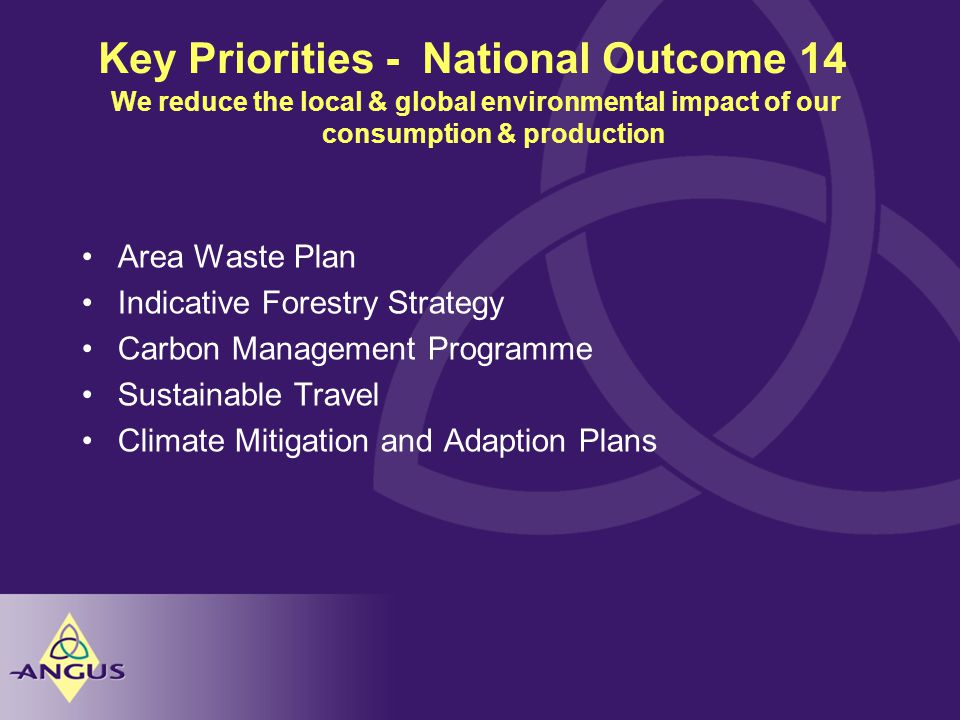 Key Priorities - National Outcome 14 Area Waste Plan Indicative Forestry Strategy Carbon Management Programme Sustainable Travel Climate Mitigation and Adaption Plans We reduce the local & global environmental impact of our consumption & production
