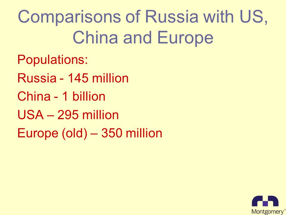 Comparisons of Russia with US, China and Europe Populations: Russia million China - 1 billion USA – 295 million Europe (old) – 350 million