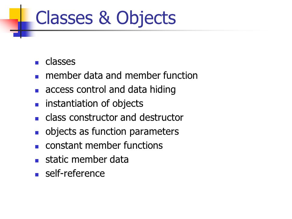 Classes & Objects classes member data and member function