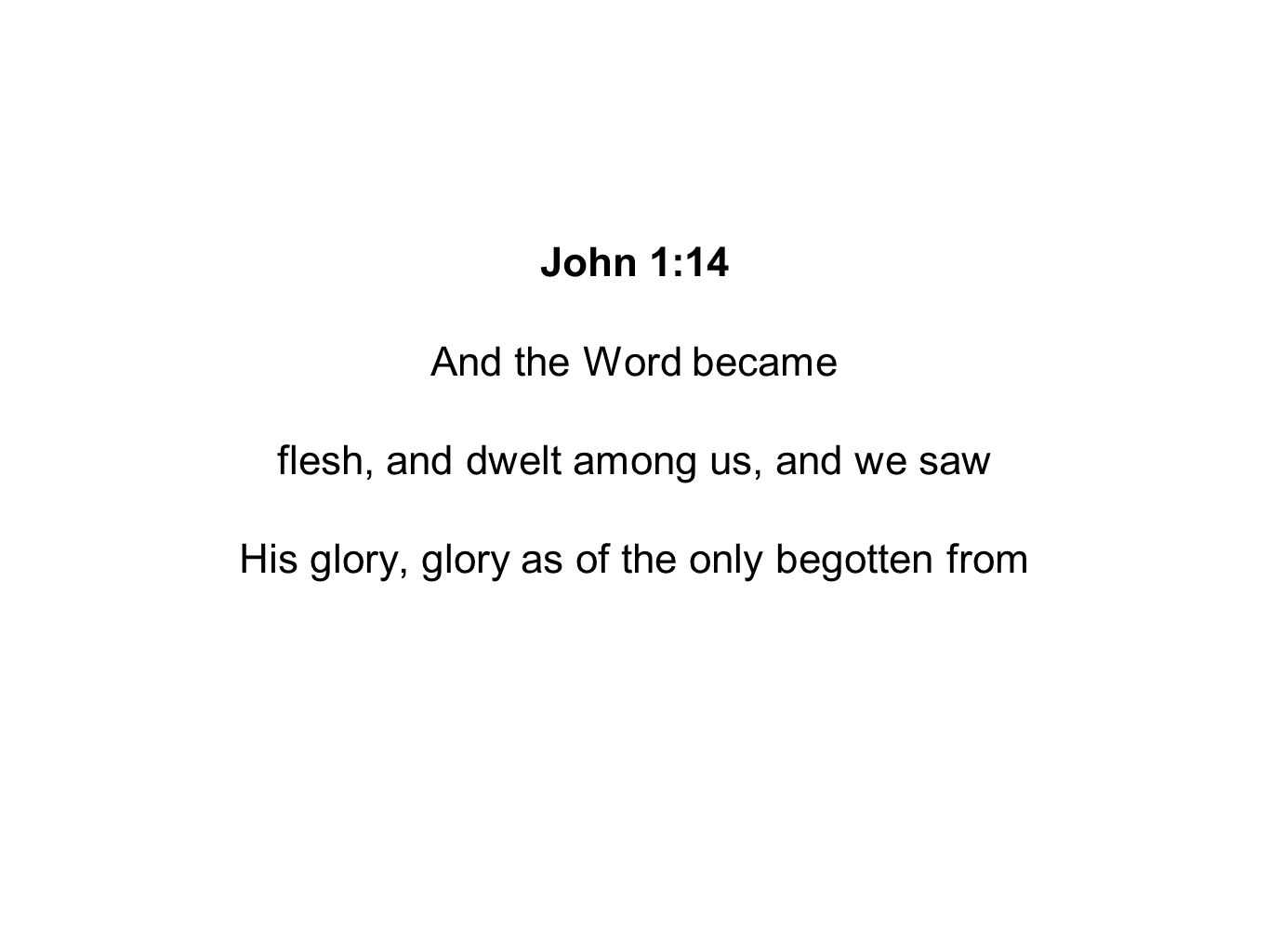 John 1:14 And the Word became flesh, and dwelt among us, and we saw His glory, glory as of the only begotten from