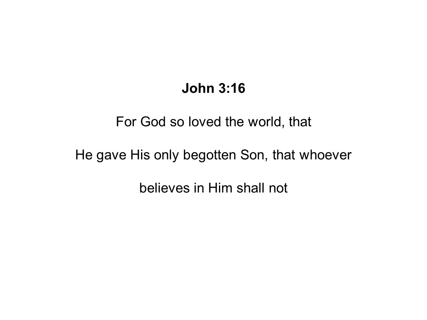John 3:16 For God so loved the world, that He gave His only begotten Son, that whoever believes in Him shall not