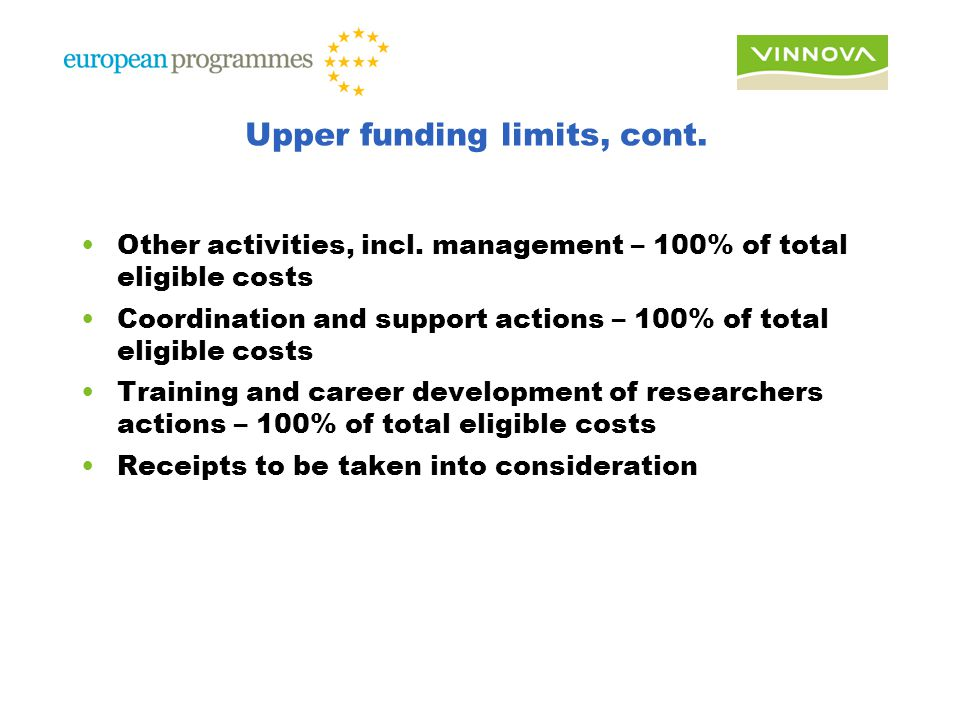 Upper funding limits, cont. Other activities, incl.