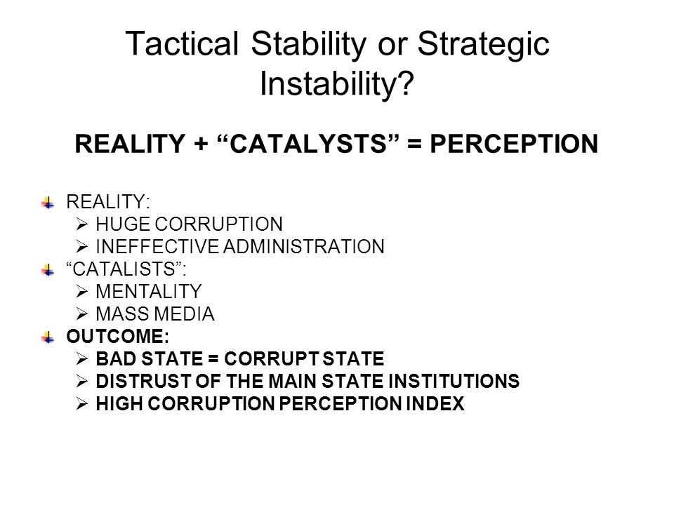 Tactical Stability or Strategic Instability.