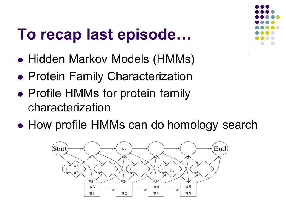 To recap last episode… Hidden Markov Models (HMMs) Protein Family Characterization Profile HMMs for protein family characterization How profile HMMs can do homology search