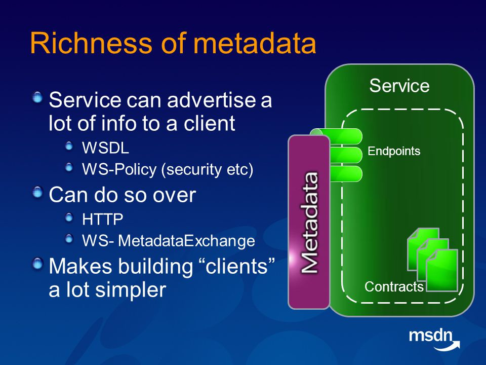 Richness of metadata Service can advertise a lot of info to a client WSDL WS-Policy (security etc) Can do so over HTTP WS- MetadataExchange Makes building clients a lot simpler Service Contracts Endpoints
