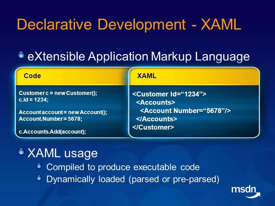Declarative Development - XAML eXtensible Application Markup Language XAML usage Compiled to produce executable code Dynamically loaded (parsed or pre-parsed) Customer c = new Customer(); c.Id = 1234; Account account = new Account(); Account.Number = 5678; c.Accounts.Add(account); Code XAML