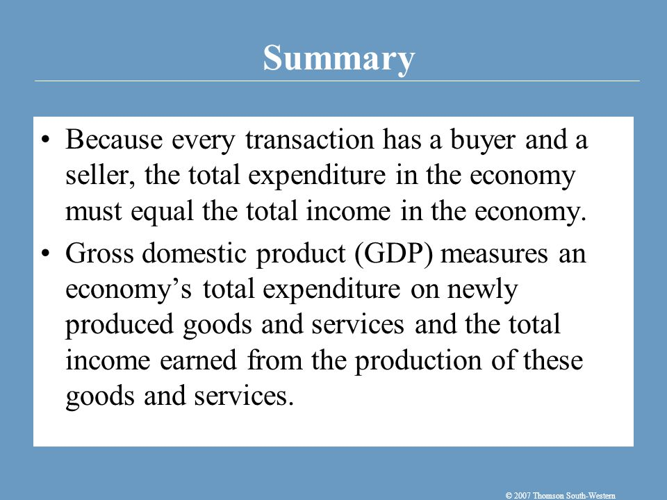 Summary © 2007 Thomson South-Western Because every transaction has a buyer and a seller, the total expenditure in the economy must equal the total income in the economy.