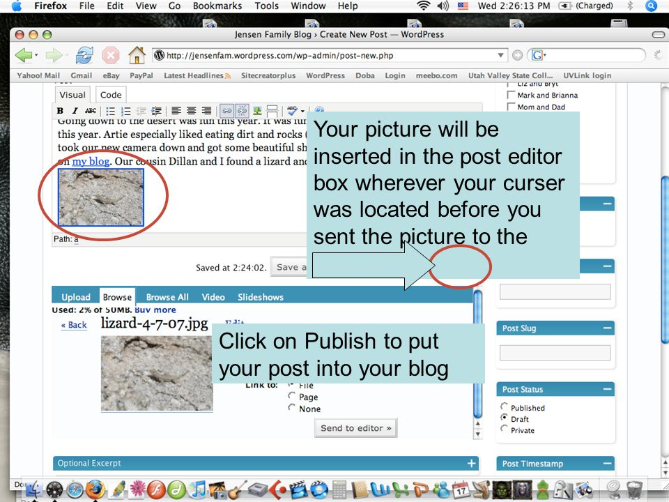 Your picture will be inserted in the post editor box wherever your curser was located before you sent the picture to the editor Click on Publish to put your post into your blog