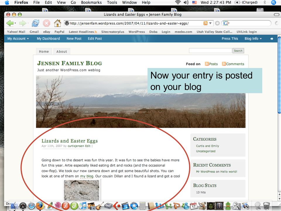 Now your entry is posted on your blog