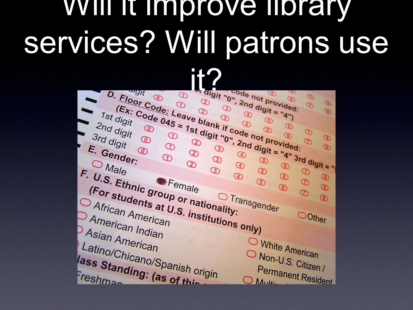 Will it improve library services Will patrons use it