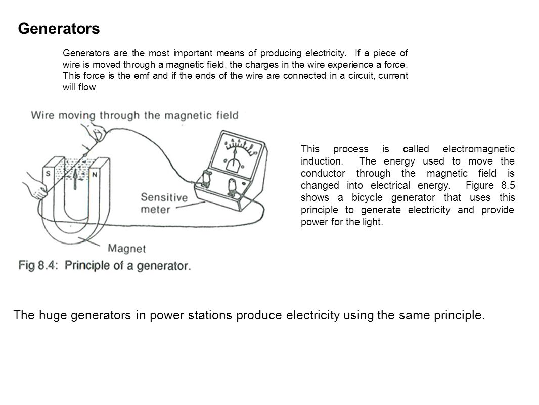 Sources Of Electrical Energy The Driving Force In Electronic Bike Wiring Diagram Generators Are Most Important Means Producing Electricity