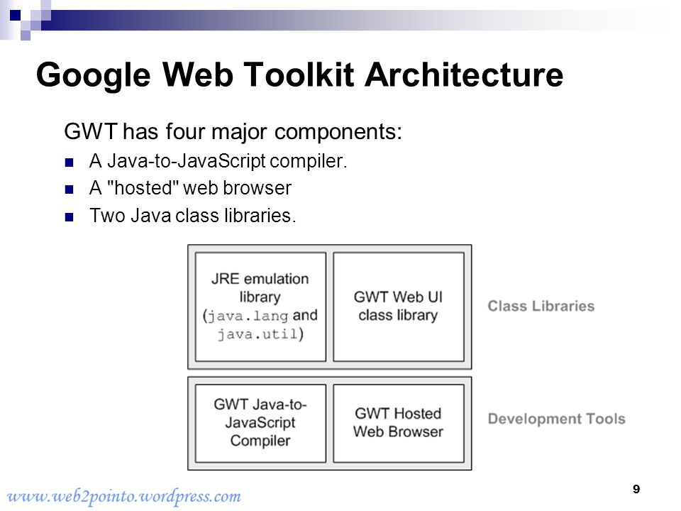 1 GWT Google Web Toolkit Build AJAX apps in the Java