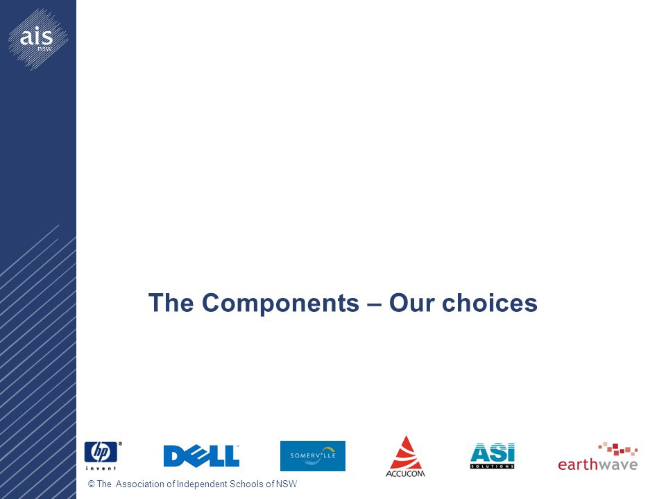 © The Association of Independent Schools of NSW The Components – Our choices