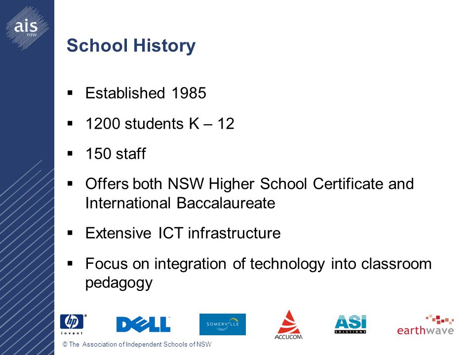 © The Association of Independent Schools of NSW School History  Established 1985  1200 students K – 12  150 staff  Offers both NSW Higher School Certificate and International Baccalaureate  Extensive ICT infrastructure  Focus on integration of technology into classroom pedagogy