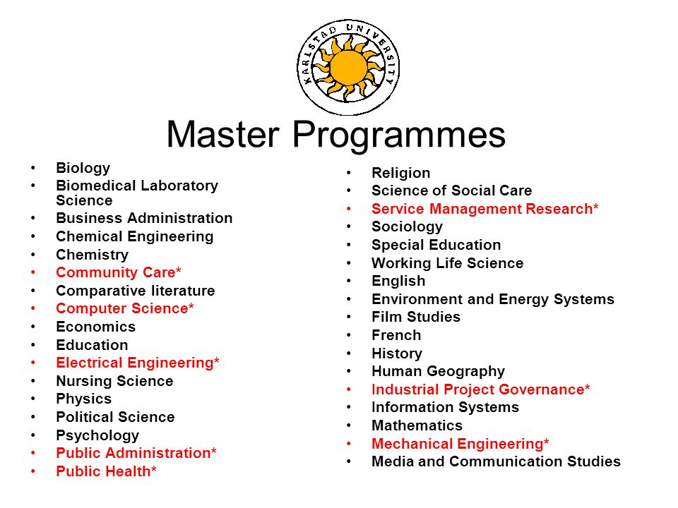 Master Programmes Biology Biomedical Laboratory Science Business Administration Chemical Engineering Chemistry Community Care* Comparative literature Computer Science* Economics Education Electrical Engineering* Nursing Science Physics Political Science Psychology Public Administration* Public Health* Religion Science of Social Care Service Management Research* Sociology Special Education Working Life Science English Environment and Energy Systems Film Studies French History Human Geography Industrial Project Governance* Information Systems Mathematics Mechanical Engineering* Media and Communication Studies