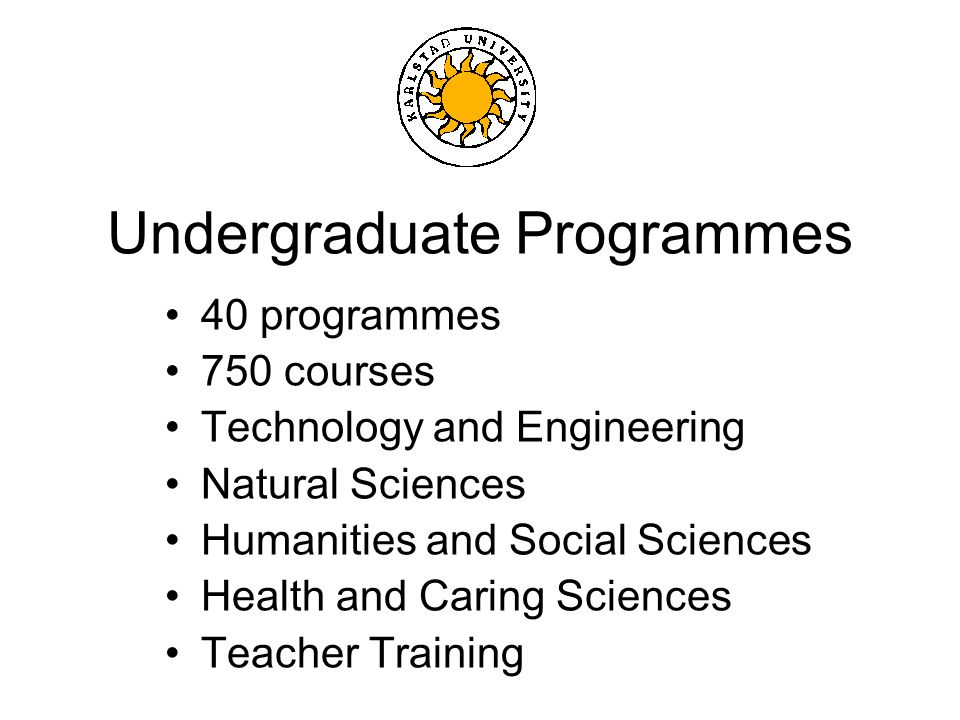Undergraduate Programmes 40 programmes 750 courses Technology and Engineering Natural Sciences Humanities and Social Sciences Health and Caring Sciences Teacher Training