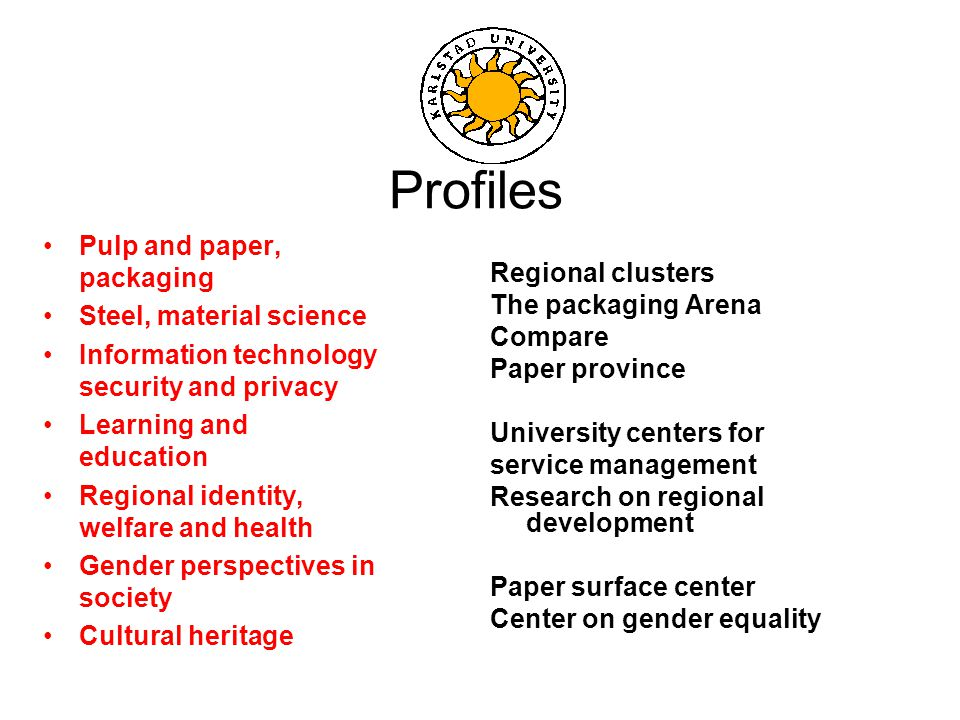 Profiles Pulp and paper, packaging Steel, material science Information technology security and privacy Learning and education Regional identity, welfare and health Gender perspectives in society Cultural heritage Regional clusters The packaging Arena Compare Paper province University centers for service management Research on regional development Paper surface center Center on gender equality
