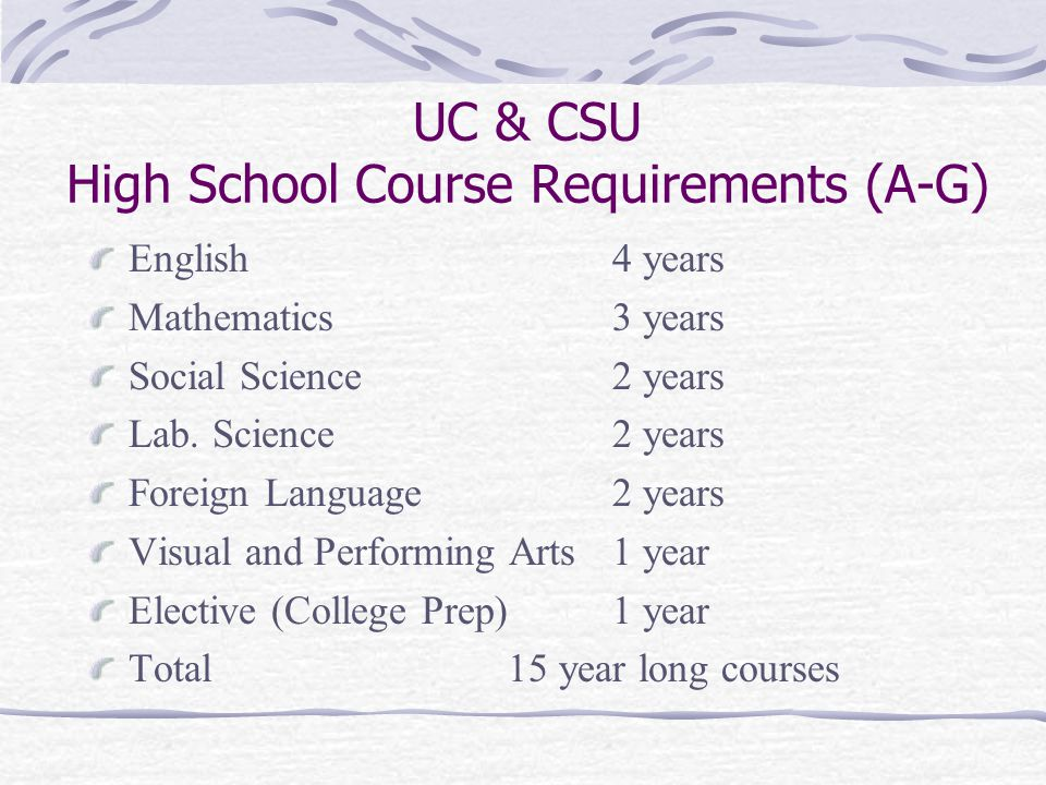 UC & CSU High School Course Requirements (A-G) English4 years Mathematics3 years Social Science2 years Lab.