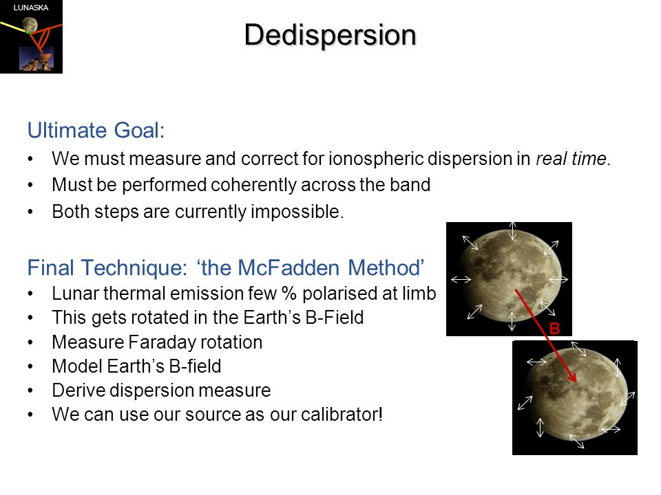 LUNASKADedispersion Ultimate Goal: We must measure and correct for ionospheric dispersion in real time.