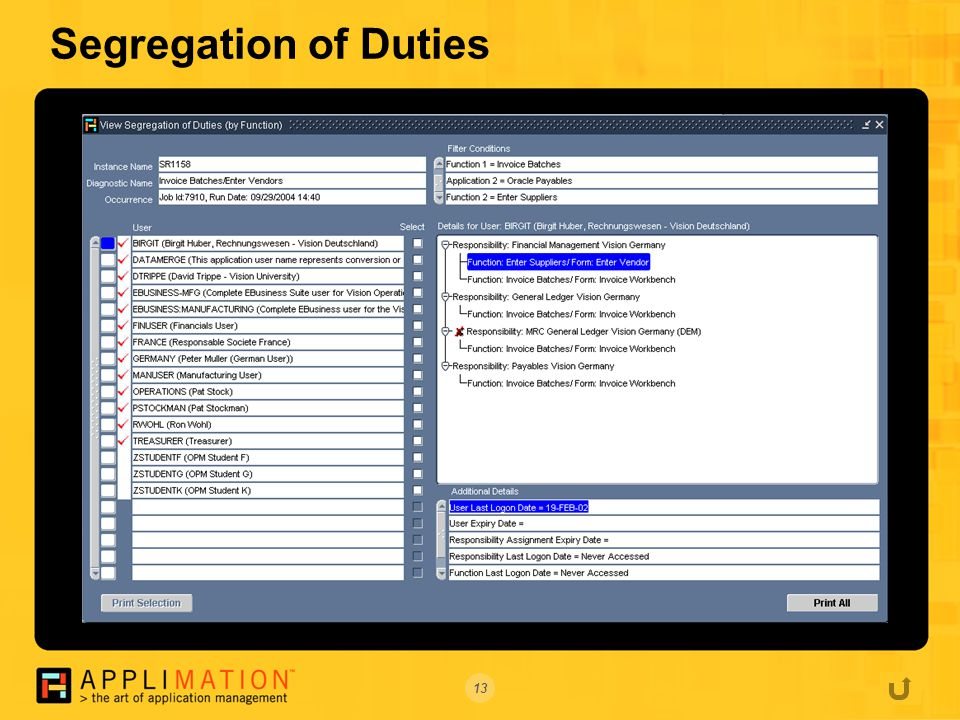 13 Segregation of Duties