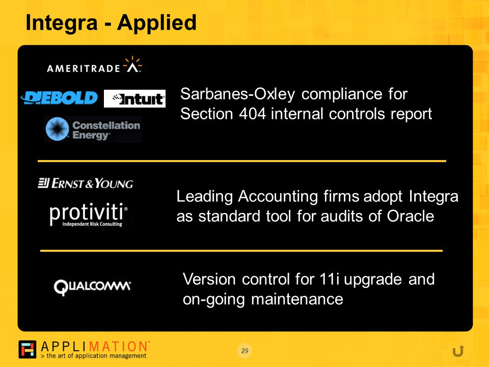 29 Integra - Applied Sarbanes-Oxley compliance for Section 404 internal controls report Leading Accounting firms adopt Integra as standard tool for audits of Oracle Version control for 11i upgrade and on-going maintenance