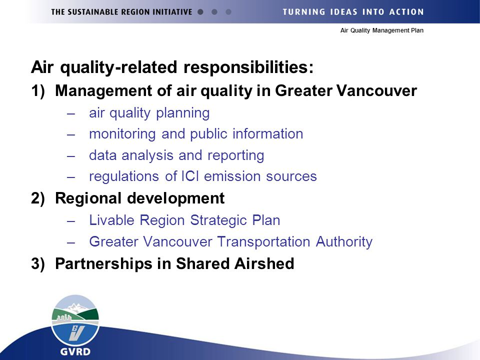 Air Quality Management Plan Air quality-related responsibilities: 1)Management of air quality in Greater Vancouver –air quality planning –monitoring and public information –data analysis and reporting –regulations of ICI emission sources 2)Regional development –Livable Region Strategic Plan –Greater Vancouver Transportation Authority 3)Partnerships in Shared Airshed