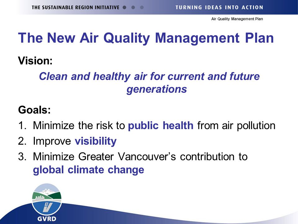 Air Quality Management Plan The New Air Quality Management Plan Vision: Clean and healthy air for current and future generations Goals: 1.Minimize the risk to public health from air pollution 2.Improve visibility 3.Minimize Greater Vancouver's contribution to global climate change