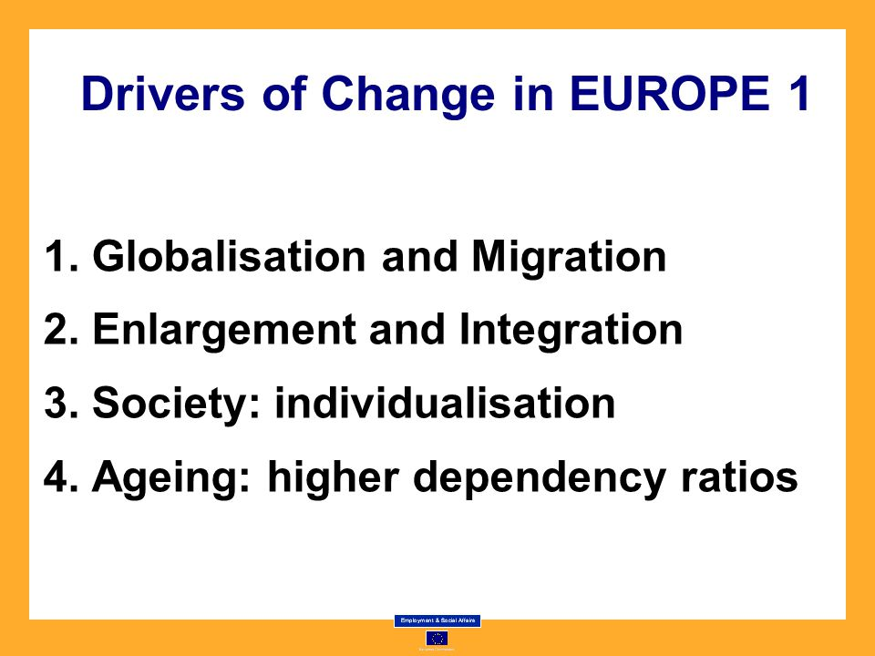Drivers of Change in EUROPE 1 1. Globalisation and Migration 2.