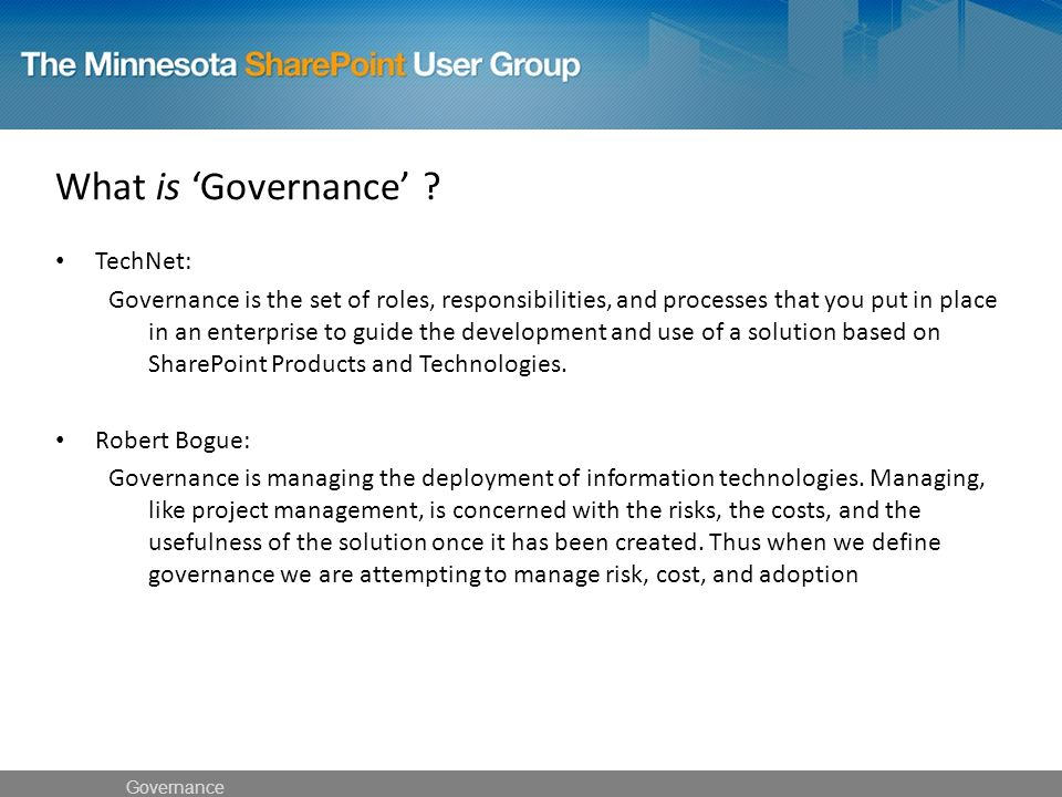 What is 'Governance' .