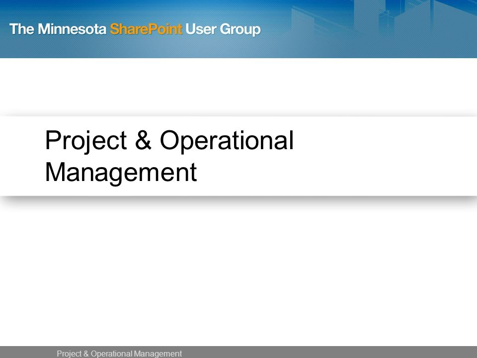 Project & Operational Management