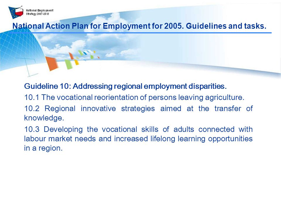 National Action Plan for Employment for Guidelines and tasks.