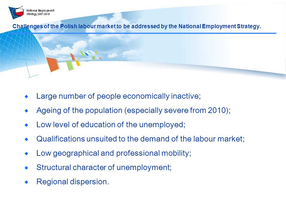 Challenges of the Polish labour market to be addressed by the National Employment Strategy.