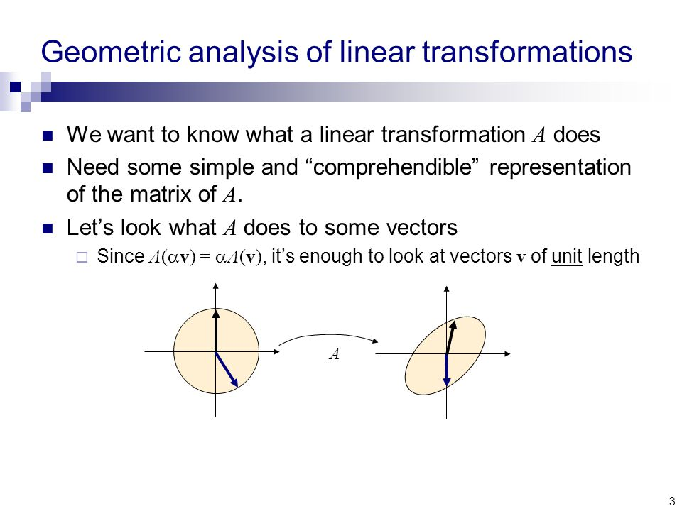 3 Geometric analysis of linear transformations We want to know what a linear transformation A does Need some simple and comprehendible representation of the matrix of A.