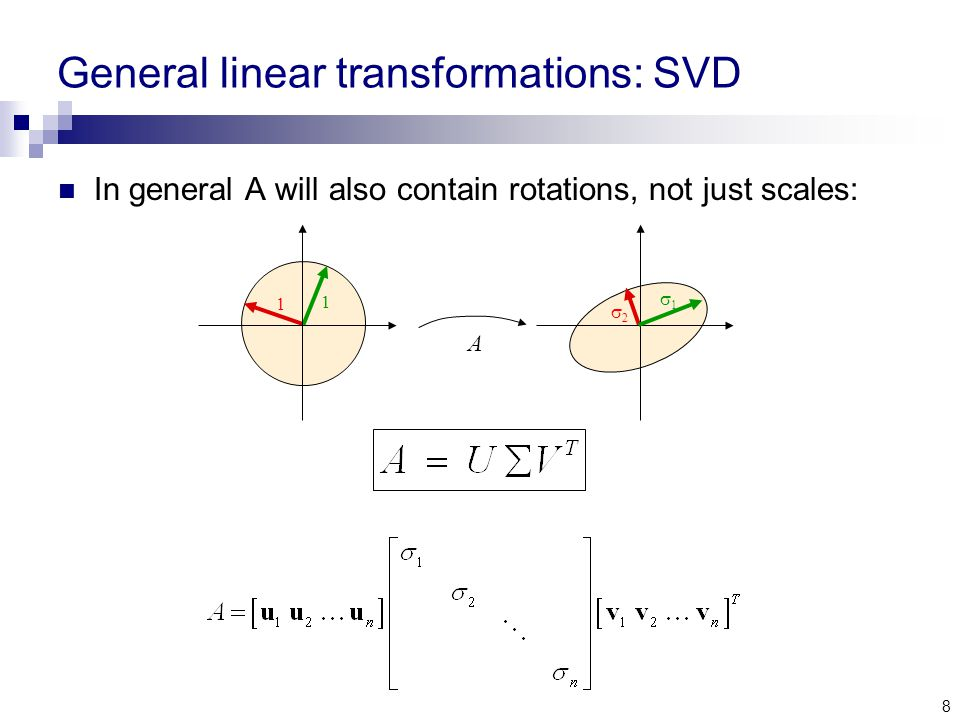 8 General linear transformations: SVD In general A will also contain rotations, not just scales: A 1 1 22 11