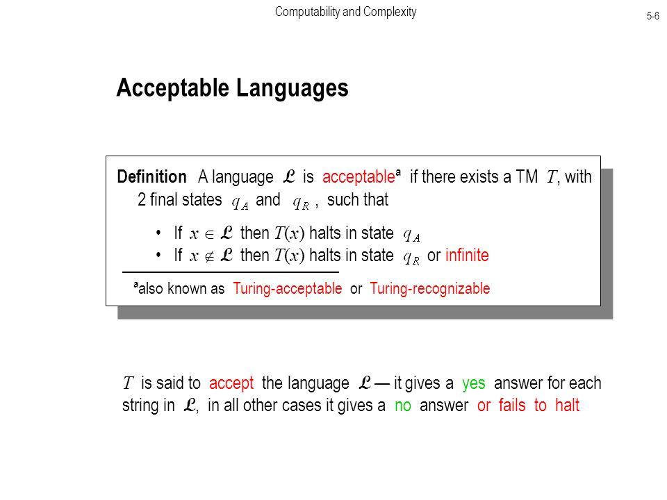 Computability and Complexity 5-6 Acceptable Languages Definition A language L is acceptableª if there exists a TM T, with 2 final states and, such that If x  L then T(x) halts in state If x  L then T(x) halts in state or infinite ªalso known as Turing-acceptable or Turing-recognizable T is said to accept the language L — it gives a yes answer for each string in L, in all other cases it gives a no answer or fails to halt