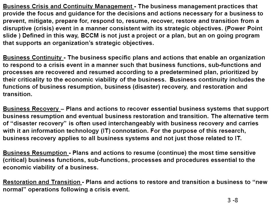 Business Crisis and Continuity Management (BCCM) Class Session ppt ...