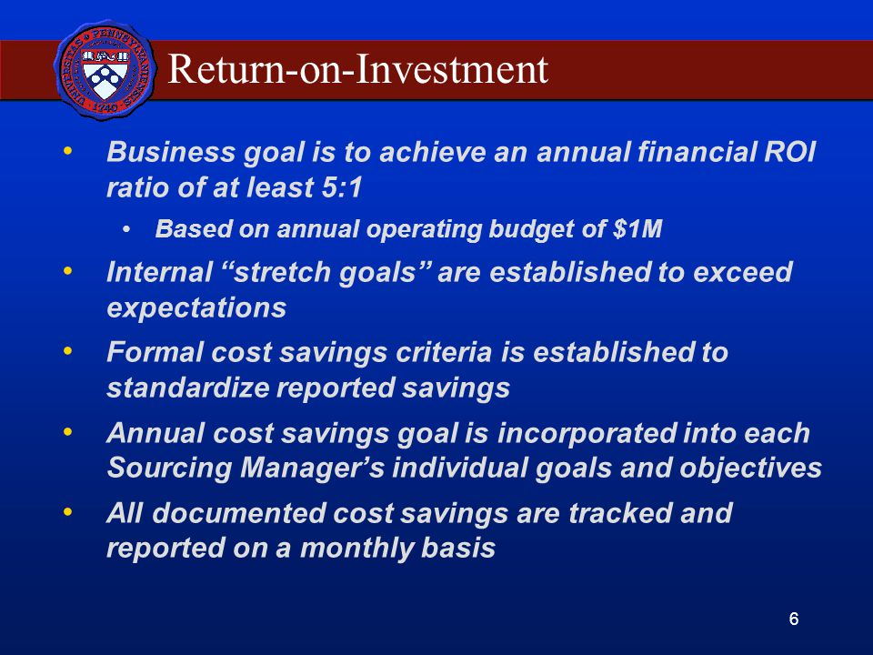 6 Return-on-Investment Business goal is to achieve an annual financial ROI ratio of at least 5:1 Based on annual operating budget of $1M Internal stretch goals are established to exceed expectations Formal cost savings criteria is established to standardize reported savings Annual cost savings goal is incorporated into each Sourcing Manager's individual goals and objectives All documented cost savings are tracked and reported on a monthly basis
