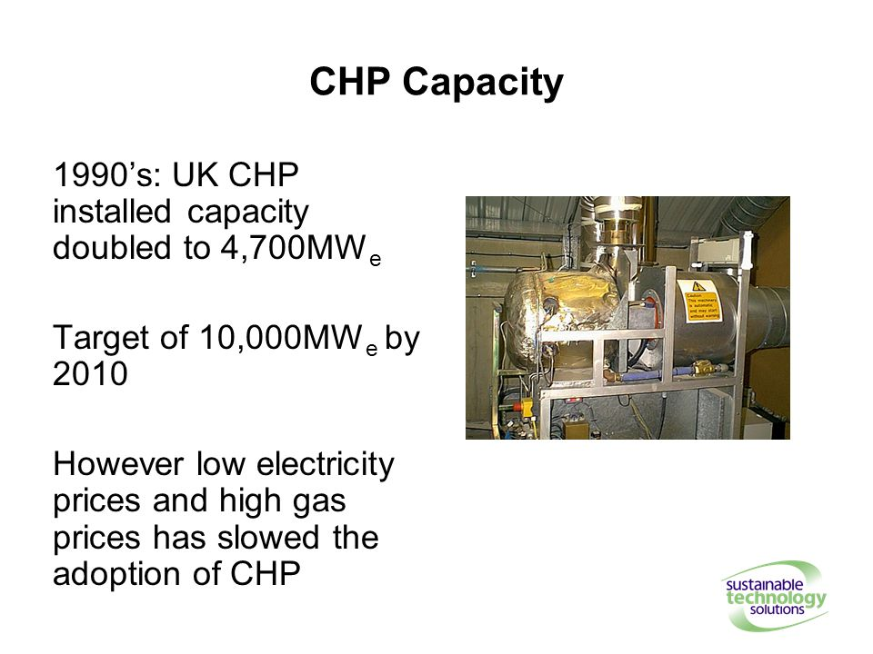 CHP Capacity 1990's: UK CHP installed capacity doubled to 4,700MW e Target of 10,000MW e by 2010 However low electricity prices and high gas prices has slowed the adoption of CHP