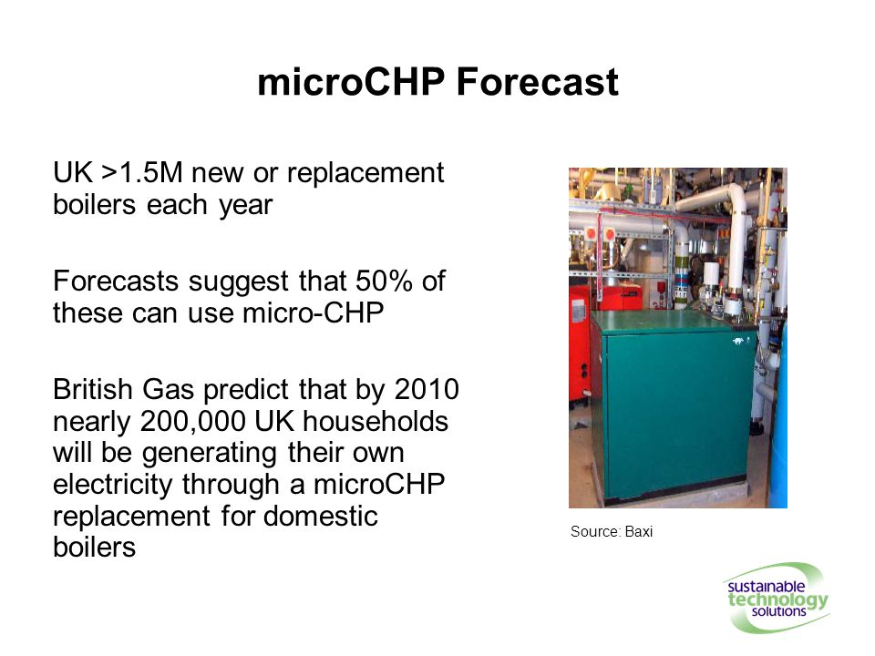 microCHP Forecast UK >1.5M new or replacement boilers each year Forecasts suggest that 50% of these can use micro-CHP British Gas predict that by 2010 nearly 200,000 UK households will be generating their own electricity through a microCHP replacement for domestic boilers Source: Baxi