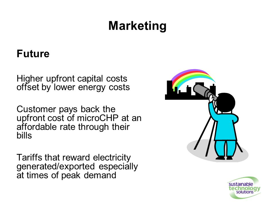 Marketing Future Higher upfront capital costs offset by lower energy costs Customer pays back the upfront cost of microCHP at an affordable rate through their bills Tariffs that reward electricity generated/exported especially at times of peak demand